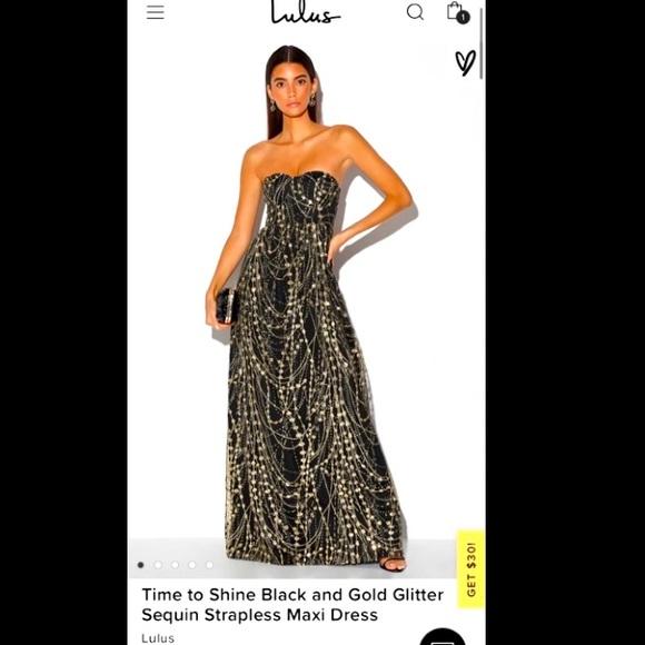 NWT- Black & Gold Glitter Strapless Maxi Dress- M